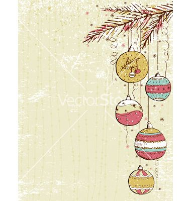 Beige background with christmas balls vector by sunnyfrog on VectorStock®