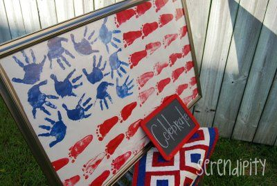 4th of July Craft~ Footprints for stripes, handprints for stars; So doing this with Lane!