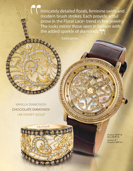 Le Vian Chocolatier®  Floral Lace™ ring and pendant necklace with Chocolate Diamonds® and Vanilla Diamonds® in Honey Gold®.  Le Vian Time® watch.