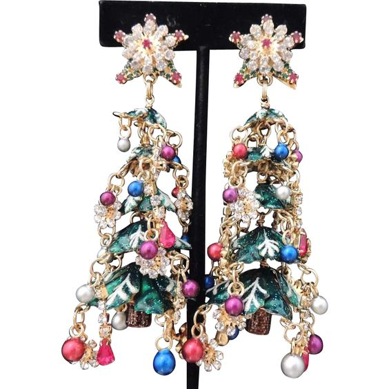 LUNCH AT THE RITZ Vintage Earrings Chandelier Duster Christmas Tree Rhinestones Beads Signed