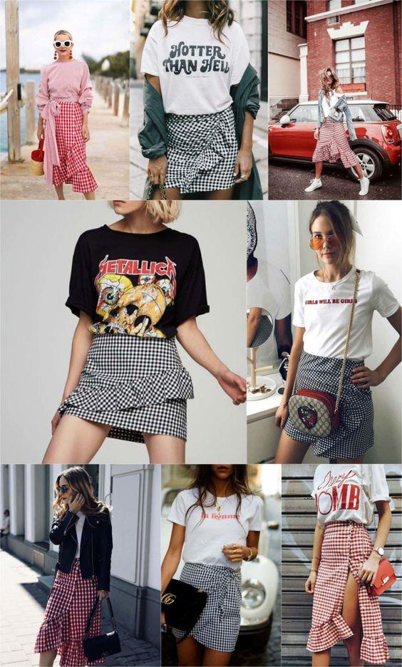 montagem com muitos modelos de saias curtas e midi com estampa vichy