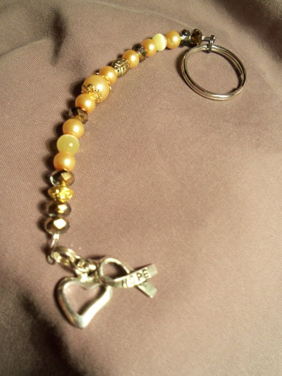 Gold for childhood cancers key chain by Suestreasures2012 on Etsy,