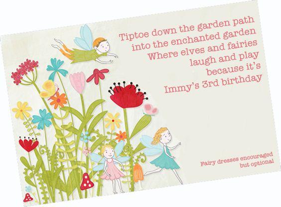 A Fairy Birthday Party – Garden Party Invitation Wording