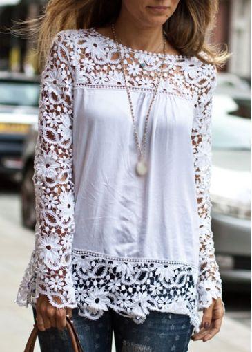 Glamorous Lace Patchwork White Long Sleeve T Shirt - USD $23.92