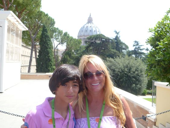 Co-founder of Bella D'Oliva LA Marchesi with her son Dominick near the Vatican