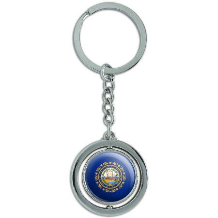 New Hampshire State Flag Spinning Round Metal Key Chain Keychain Ring, Silver