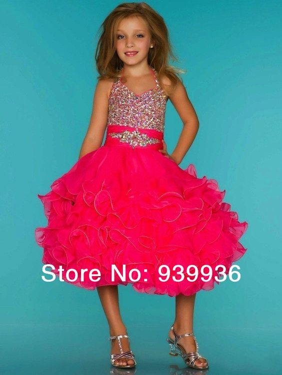 Free Shipping New Arrival Sequins Crystals Ruched Organza Knee-Length Ball Gown Flower Pageant Dresses