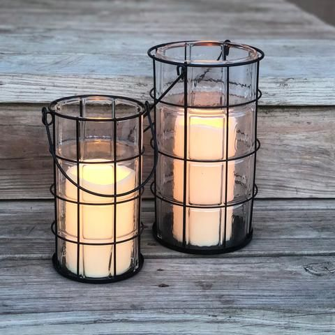 Farmhouse Wire Metal Lantern With Battery Operated Candle Metal Lanterns Battery Operated Candles Candles