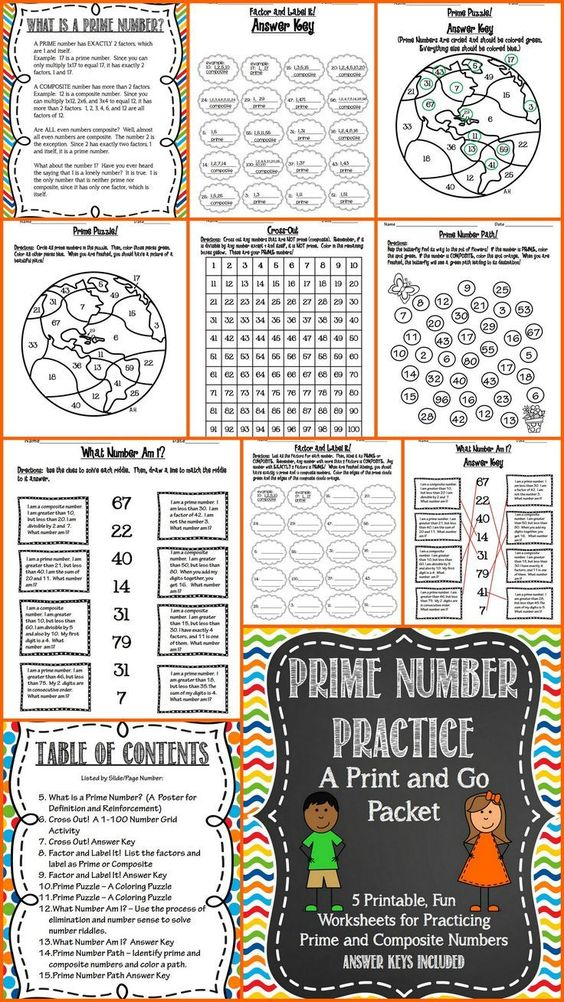 Prime and Composite Numbers Print and Go Keys, Factors