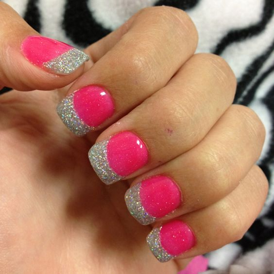 hot pink tip nails - photo #33