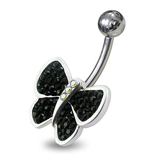 Piercing-Schmuck Schwarz Kristallsteins Multi Stein Phantasie Schmetterling 925 Sterling Silber Nabelring - http://schmuckhaus.online/chennai-jewellery/schwarz-piercing-schmuck-edelstein-multi-stein