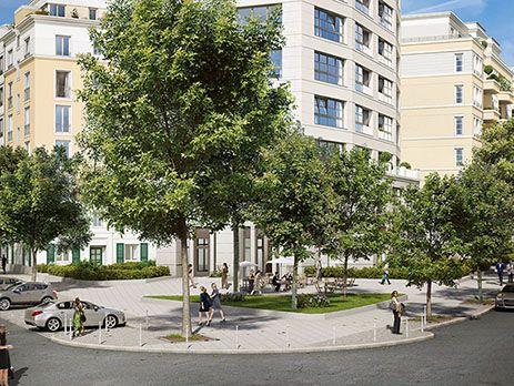 """Mit Stadtplatz vor dem Eingang des Turms. Zum Projekt """"High West"""": http://ziegert-immobilien.de/de/projekte/High-West/"""