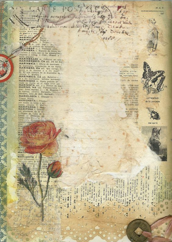 ink, tissues, paint, vintage French dictionary page lovely work: