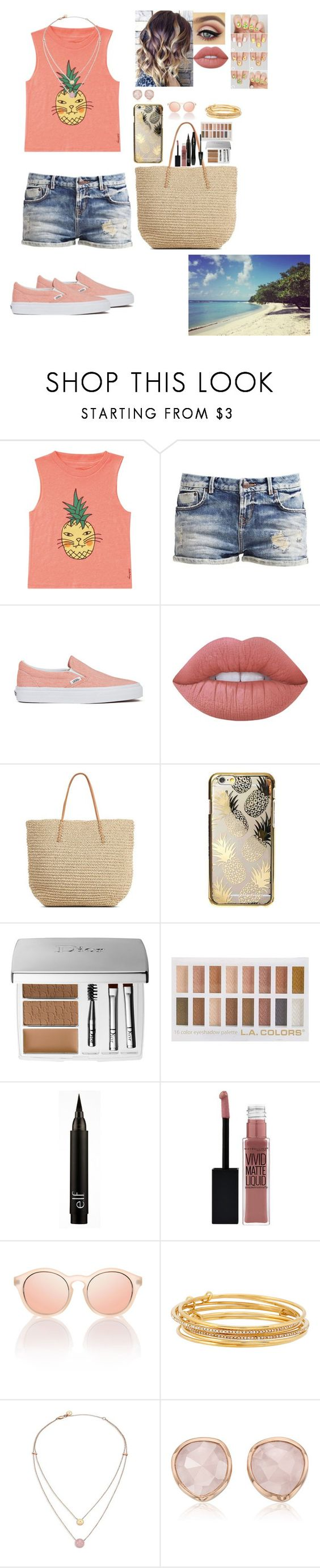 """Pineapple"" by d3rpydashie ❤ liked on Polyvore featuring Billabong, Vans, Lime Crime, Target, Skinnydip, Christian Dior, Lancôme, Maybelline, Kate Spade and Michael Kors"