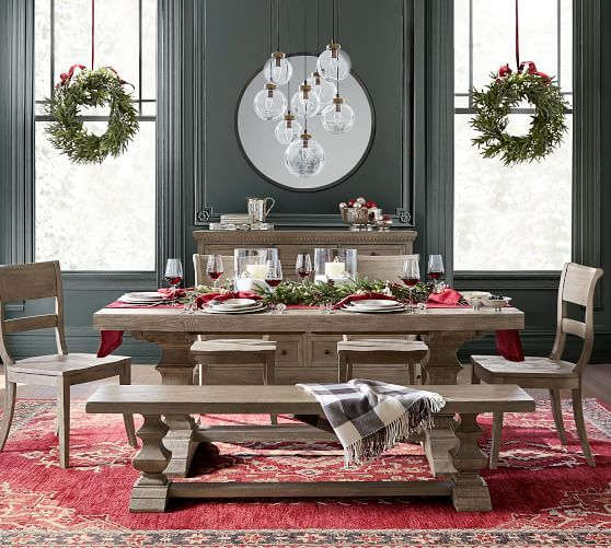 Banks Extending Dining Table Gray Wash Winter Dining Table Decor Christmas Dining Table Decor Dining Table Decor