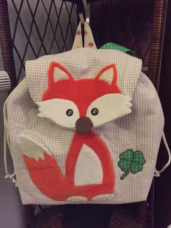 #Kindergartenrucksack #Fuchs #Patchwork #Kinder #Nähen #Mafalda - schöner Rucksack für Kinder