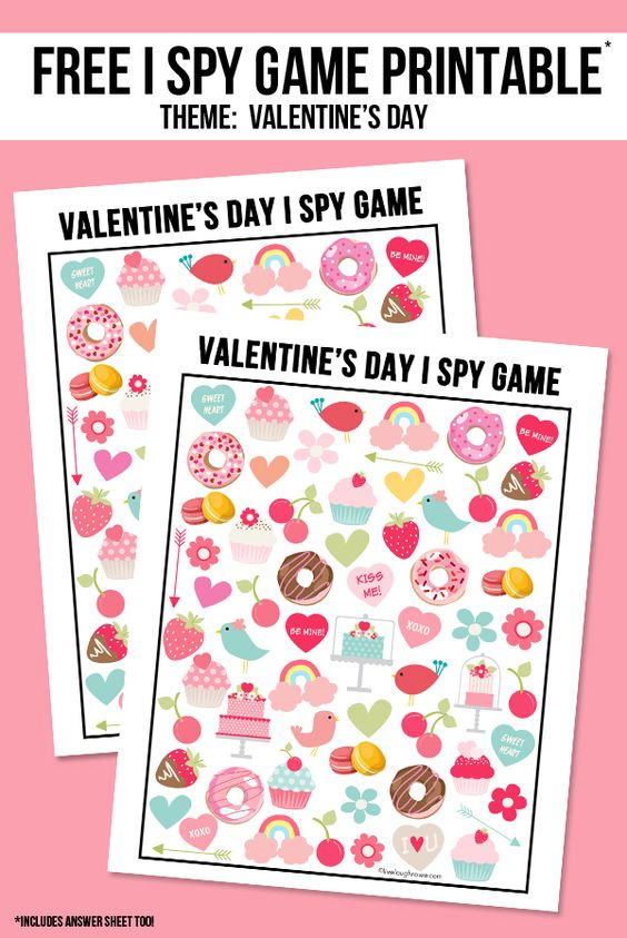 FREE I SPY GAME Valentine's Day Printables via Live Laugh Rowe - The perfect way to entertain the kids for Valentine's Day! This sweet Valentine's Day I Spy Printable come with an answer sheet and answer key too! #valentines #freeprintablevalentines #valentinesprintables #freevalentinesdaycards #valentinesdaypartyprintables #valentinesdayparty