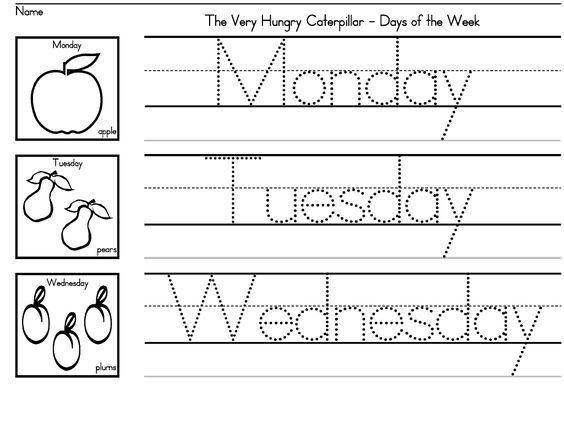 "The Very Hungry Caterpillar"" Days of the Week worksheets for ..."