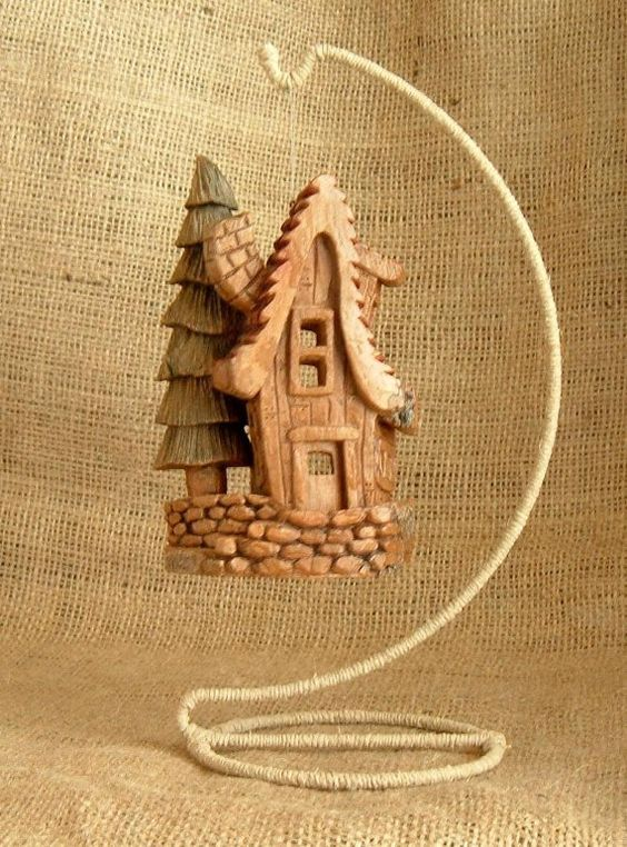 Handcarved Whimsical Cottonwood Bark House With A By