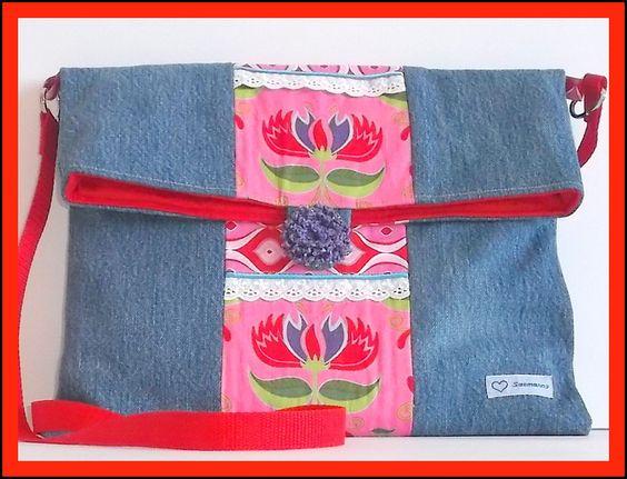 Tasche+Jeanstasche+Umhängetasche+Patchwork+von+Saemanns+auf+DaWanda.com