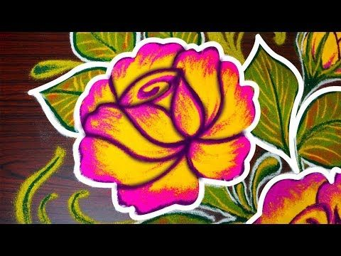 Simple Rose Rangoli Design For Pongal Easy Freehand Kolam Designs For Margazhi Muggulu Designs Youtu Rangoli Designs Kolam Designs Rangoli Designs Images