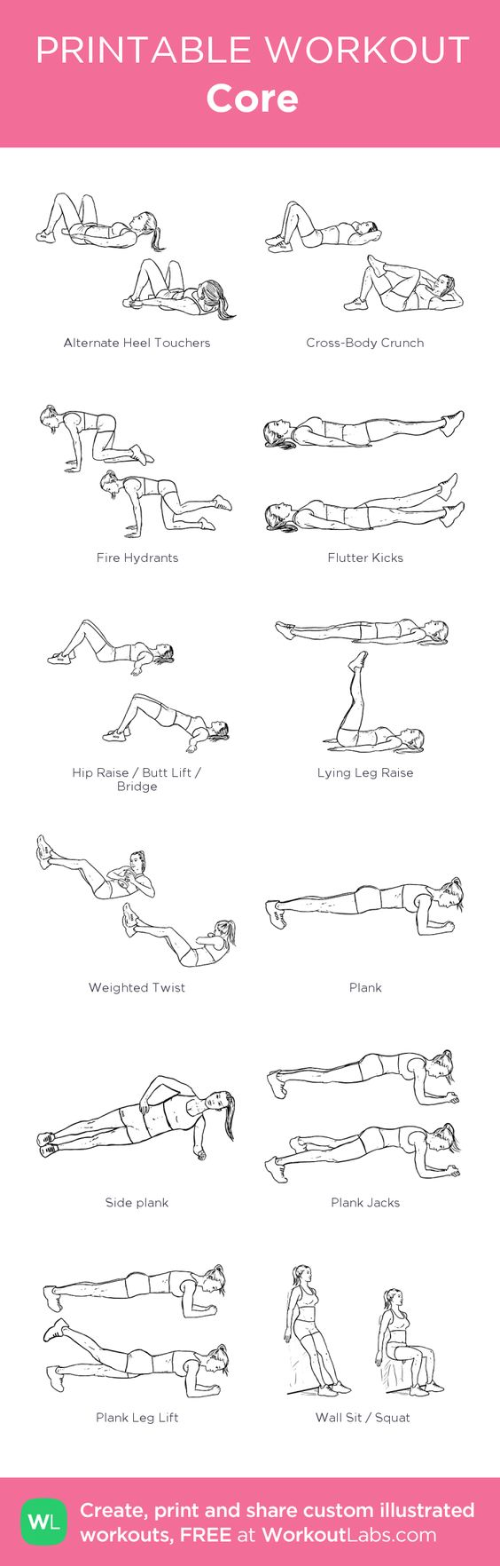 Core: my custom printable workout by @WorkoutLabs #workoutlabs #customworkout