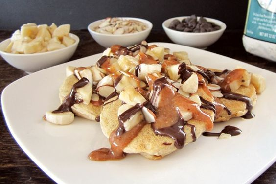 Chunky Monkey Pancakes Recipe - Banana + Nut Butter Maple + Chocolate | Go Dairy Free