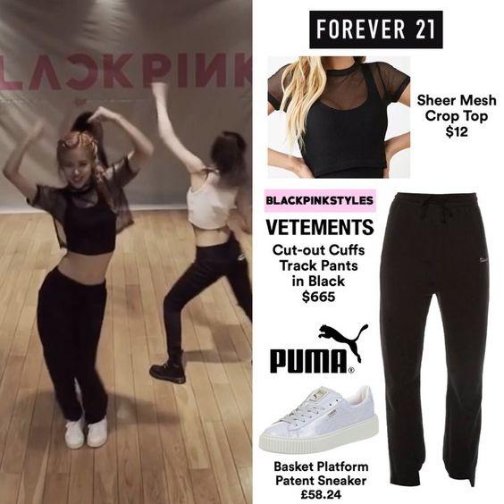 """블랙핑크 패션/BP'S FASHION on Instagram: """"160816 - [#ROSÉ] """"BLACKPINK - '휘파람(WHISTLE)' DANCE PRACTICE VIDEO"""" // requested 💓 ー 브랜드: #forever21  아이템: Sheer Mesh Crop Top  가격: $12 x…"""""""