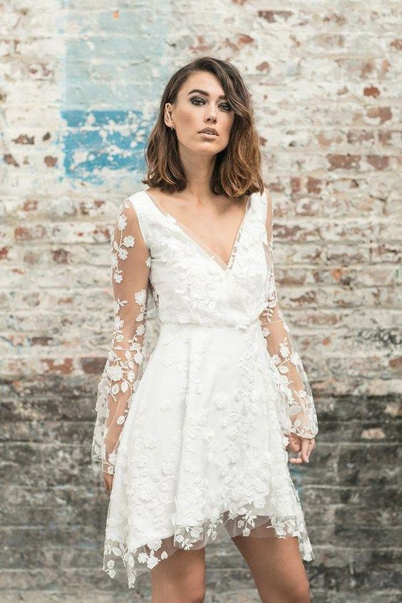 Long sleeved short wedding dress #whitepartydress