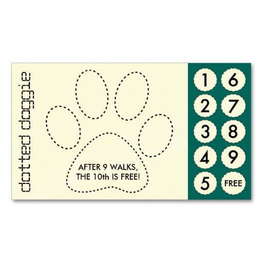 Dog walker cut out punch cards business card template for Free punch cards template