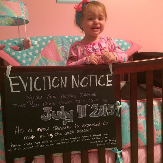 Eviction notice for 2nd baby announcement