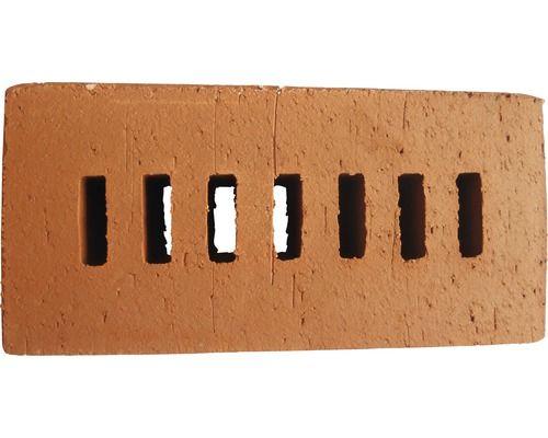 Fassadenklinker Naturrot Massiv 7-Schlitz