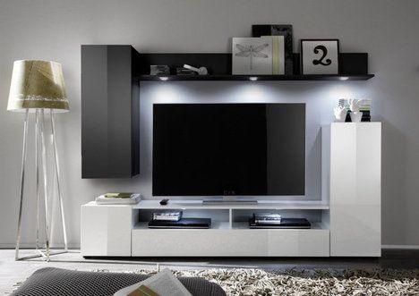 Wohnwand DOS - weiß-schwarz Hochglanz - 208x165 cm