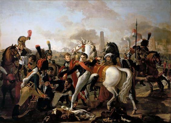 Клод Готро - Наполеон с раненной ногой и перевязываюший её хирург Иван Регенсбургская битва произошла между французской и австрийской армиями 19—23 апреля 1809 г. Преследуя разбитых при Экмюле австрийцев и намереваясь развить успех, Наполеон не располагал временем для осады Регенсбурга, сильной крепости в Баварии, незадолго до того занятой неприятелем и прикрывавшей переправу войск эрцгерцога Карла через Дунай, и приказал маршалу Ланну взять город штурмом.