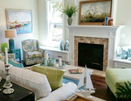 Cozy Coastal Cottage Living Room In White, Blue And Green