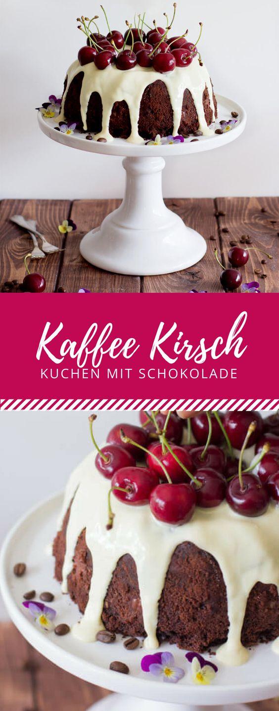Kaffee trifft Kirschen. Mit diesem leckeren Kaffee Kirschkuchen mit weißer Schokolade rockst du jeden Nachmittagskaffeetisch.