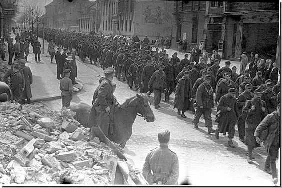 A column of German prisoners on the streets Insterburg, April 1945: