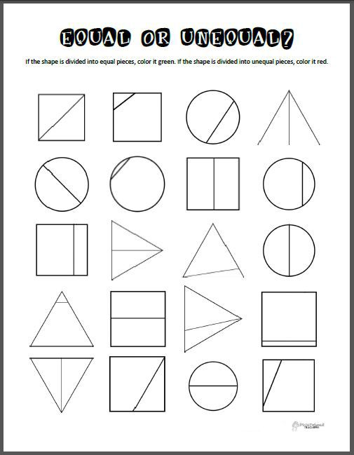 Equal Or Unequal Parts Math Printable Geometry Shapes Math Printables Math Free Math
