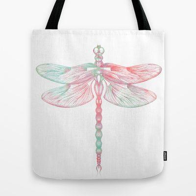 #Dragonfly #bag #pastel by Sara Elan Donati [Saraelan illustration] on #Society6