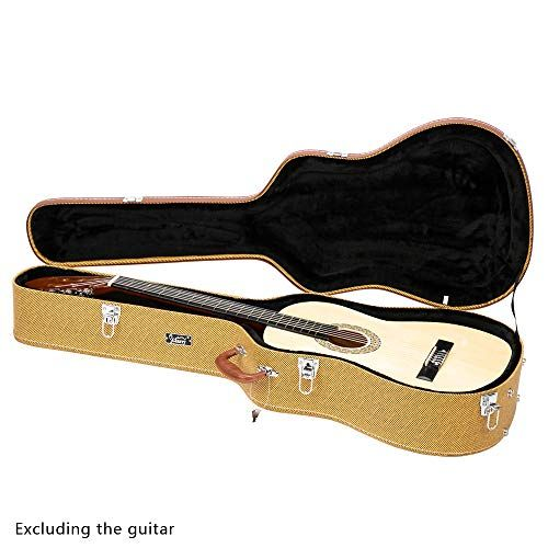 Glarry 41 Acoustic Dreadnought Guitar Hardshell Carrying Case Microgroove Flat Guitar Case Yellow Guitar Gadgets Guitar Case Guitar Shop