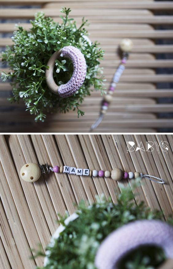 Baby Pacifier Clip with Name & Teething Ring Set // Set Schnullerkette mit Namen & Greifring