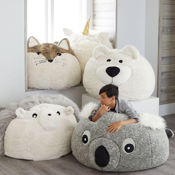 Koala Faux Fur Critter Bean Bag Chair Slipcover Cute Furniture Slipcovers For Chairs Kids Room