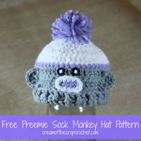 Crochet Patterns Galore Preemie Sock Monkey Hat Preemie Baby
