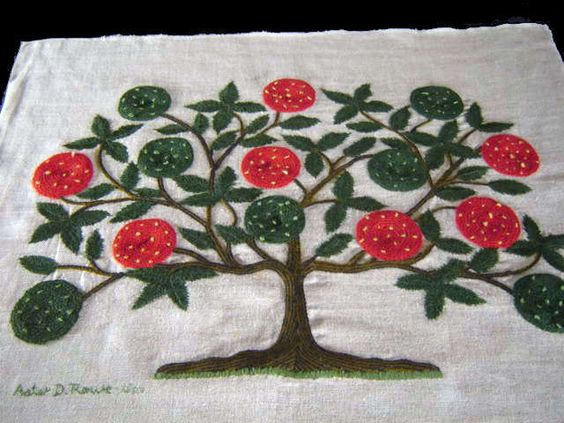 Vintage TREE OF LIFE Embroid Linen Sampler Signed Dated   eBay