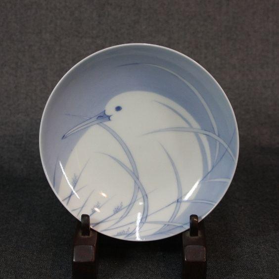 鍋島染付白鷺文皿