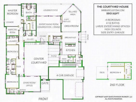 Luxury modern courtyard house plan luxury house plans for House plans with courtyards in center
