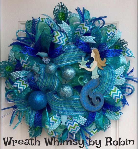 turquoise blue deco mesh mermaid wreath beach wreath. Black Bedroom Furniture Sets. Home Design Ideas