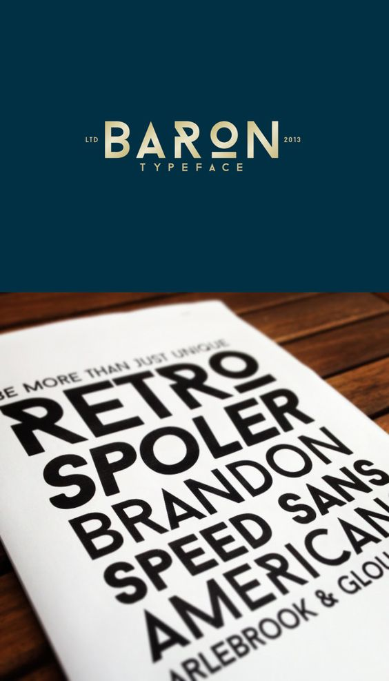 Baron – free decorative Sans serif family of three completely different weights – Regular, Bold and Black – Designed by Frank Hemmekam