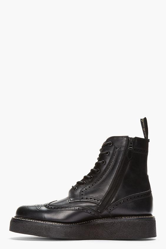 AUTHENTIC SHOE Black Leather Double Sole W.W. Wingtip Brogue Boots
