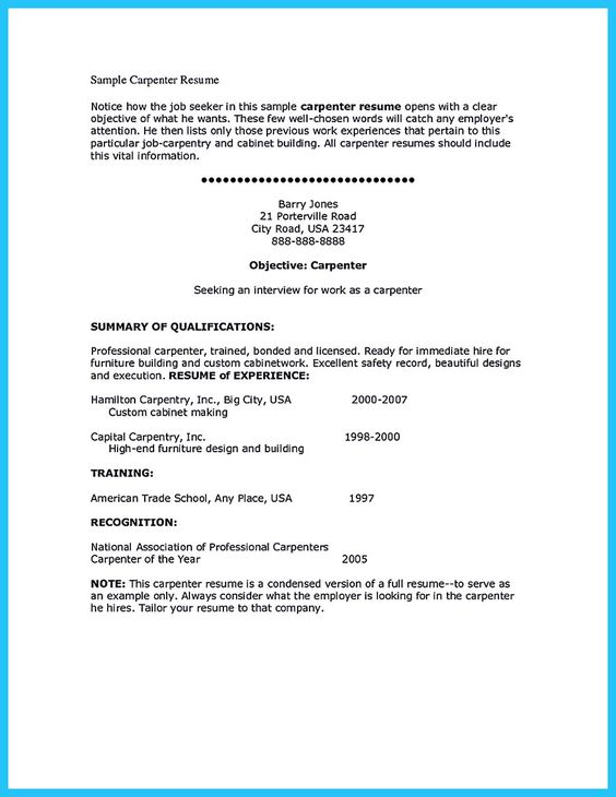 nice Tips You Wish You Knew to Make the Best Carpenter Resume - carpentry resume sample